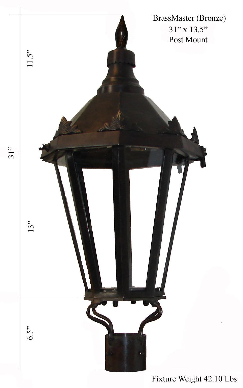 Windsor Antique Bronze Post Mount Gas Light Pro
