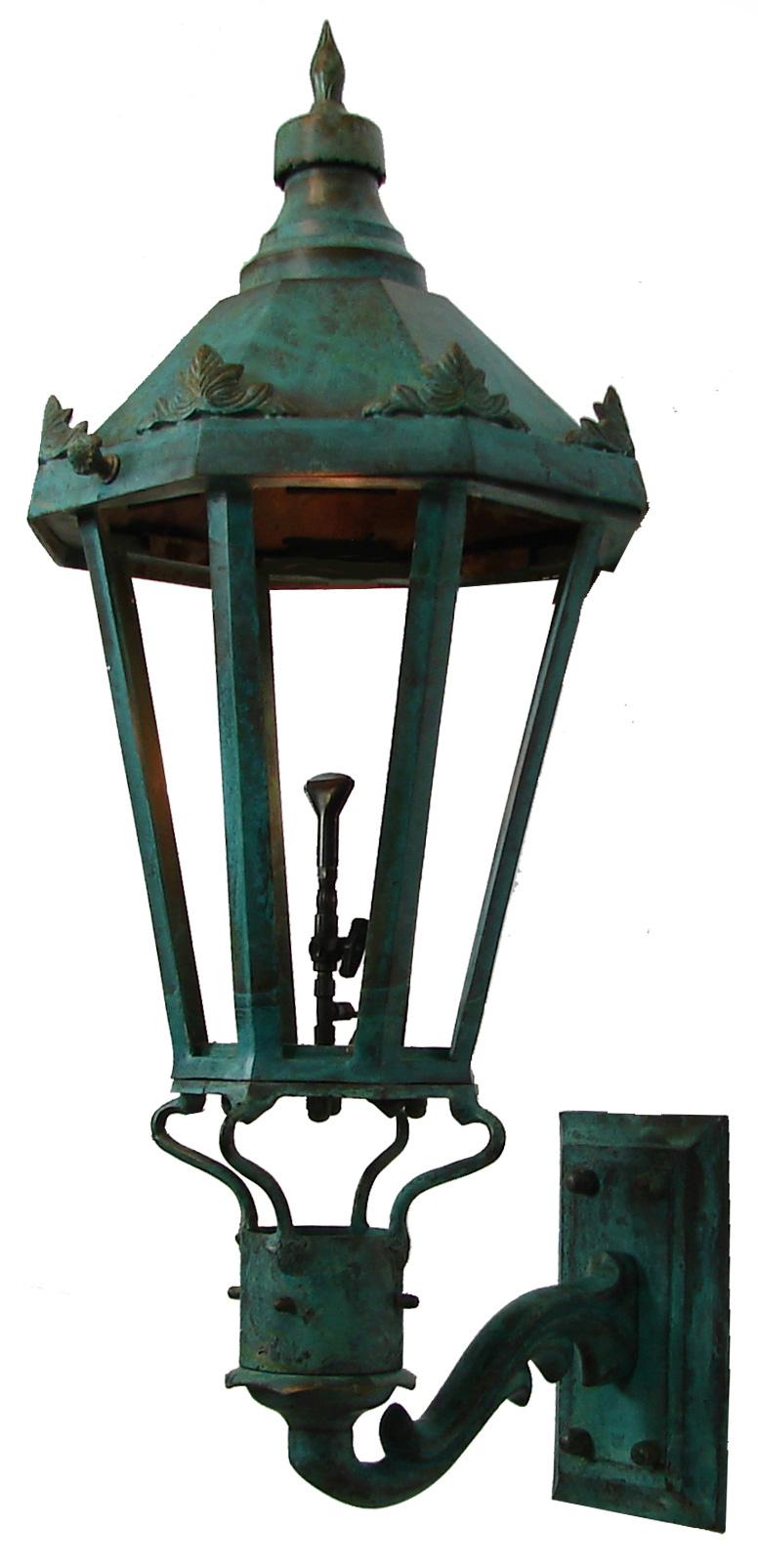 Windsor Antique Green Wall Mount Gas Light Pro